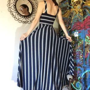 Anthropologie Dresses - Anthropologie Puella Black Grey White Stripe Maxi